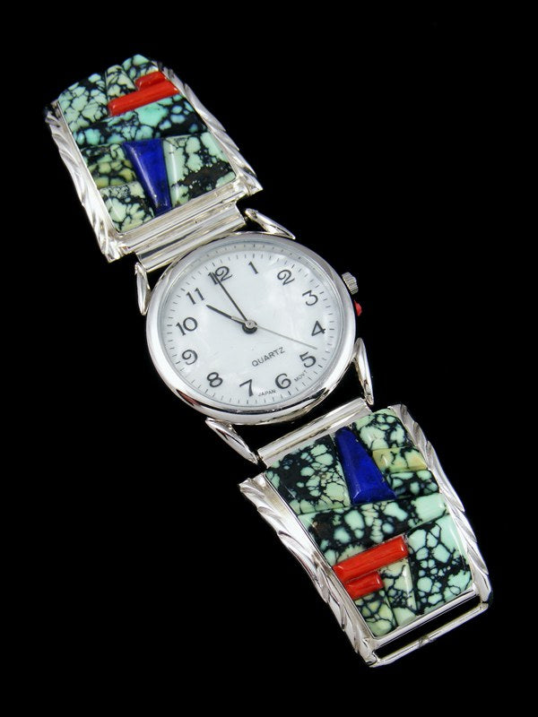 Native American Indian Jewelry Sterling Silver New Lander Variscite Men's Watch