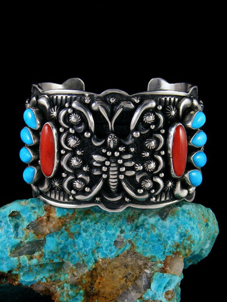 Native American Sleeping Beauty Turquoise and Coral Cuff Bracelet