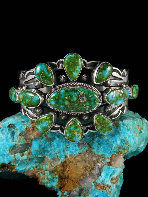 Native American Sonoran Gold Turquoise Cuff Bracelet