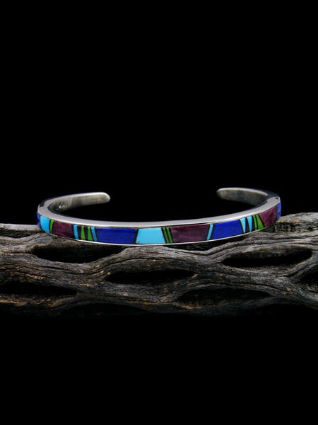 Native American Indian Turquoise Multistone Inlay Bracelet
