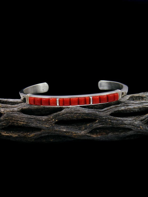 Native American Natural Coral Cobblestone Inlay Bracelet