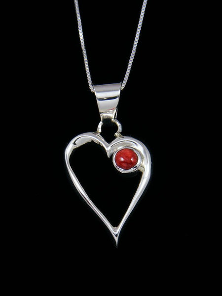 Navajo Necklace Sterling Silver Spiny Oyster Heart Pendant