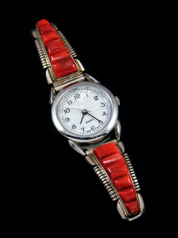 Native American Jewelry Red Spiny Oyster Inlay Ladies' Watch