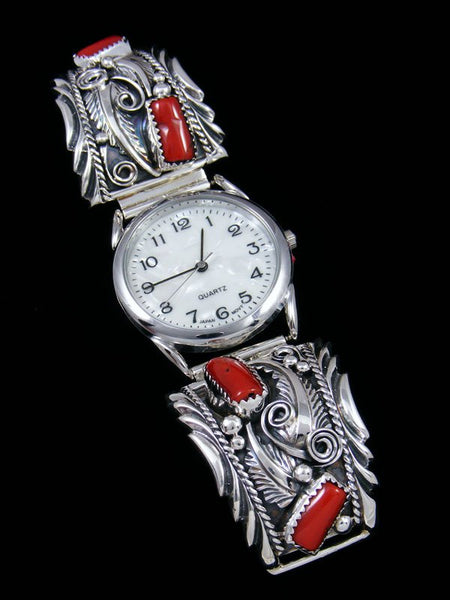 Native American Indian Jewelry Coral Men's Watch