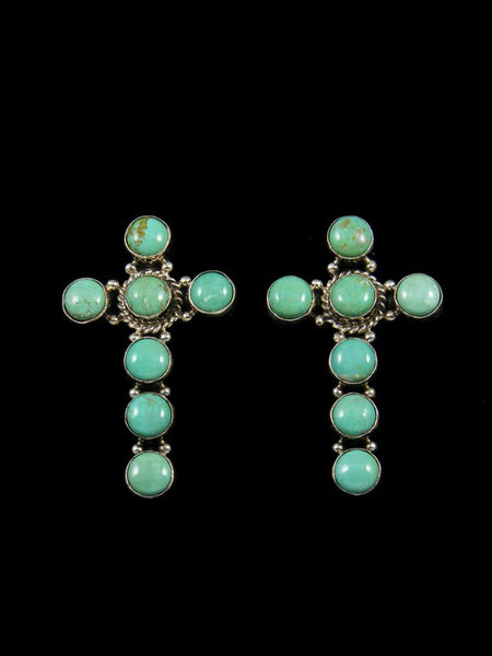 Navajo Turquoise Cross Sterling Silver Post Earrings