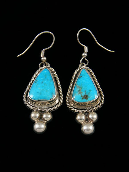 Kingman Black Web Turquoise Navajo Dangle Earrings