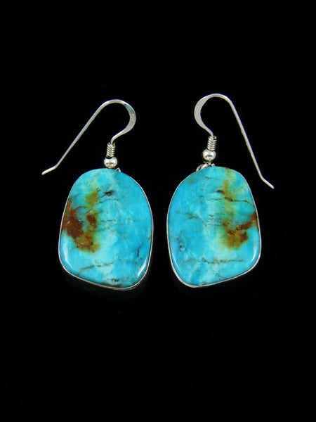 Navajo Sterling Silver Kingman Turquoise Dangle Earrings