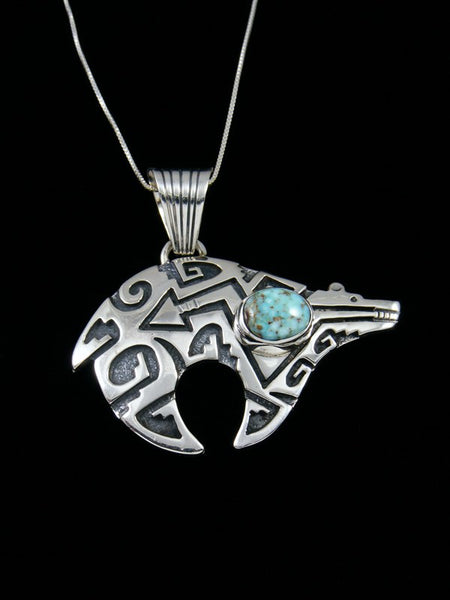 Navajo Sterling Silver Petroglyph Bear Turquoise Necklace