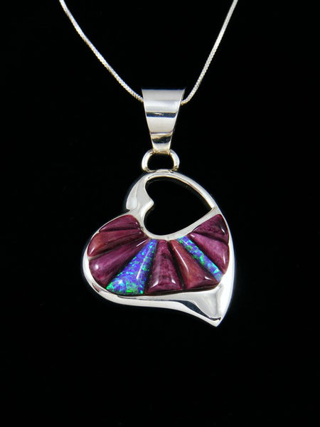 Native American Spiny Oyster Inlay Heart Pendant