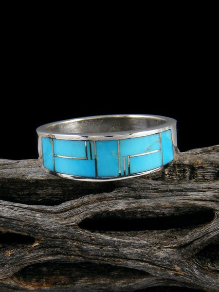 Turquoise Inlay Ring, Size 11 1/2