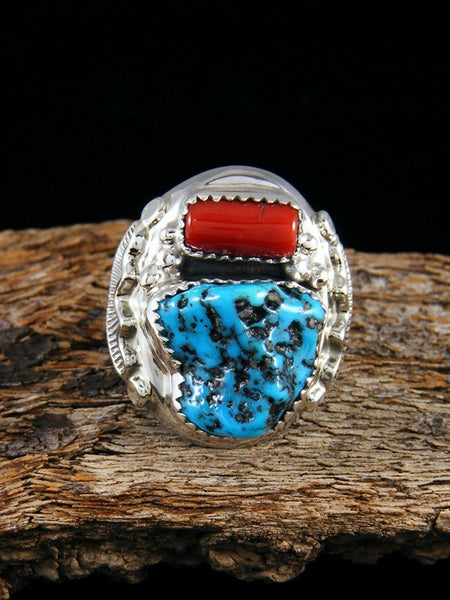 Coral and Turquoise Ring, Size 9