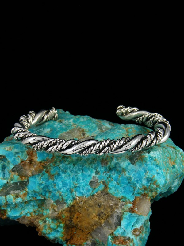 Medium Sterling Silver Twisted Rope Horse Whisperer Bracelet