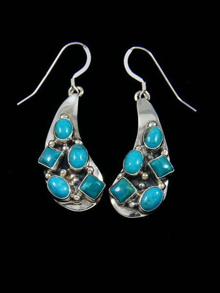 Bright Blue Turquoise Sterling Silver Dangle Earrings