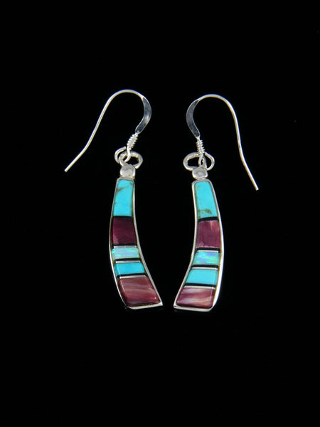 Navajo Spiny Oyster and Turquoise Inlay Dangle Earrings