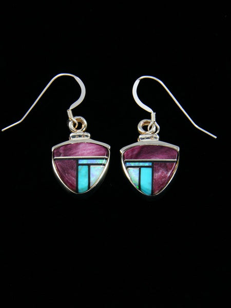 Navajo Spiny Oyster Inlay Dangle Earrings