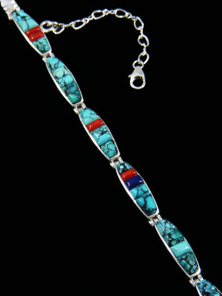 Native American Sterling Silver Coral and Turquoise Link Bracelet