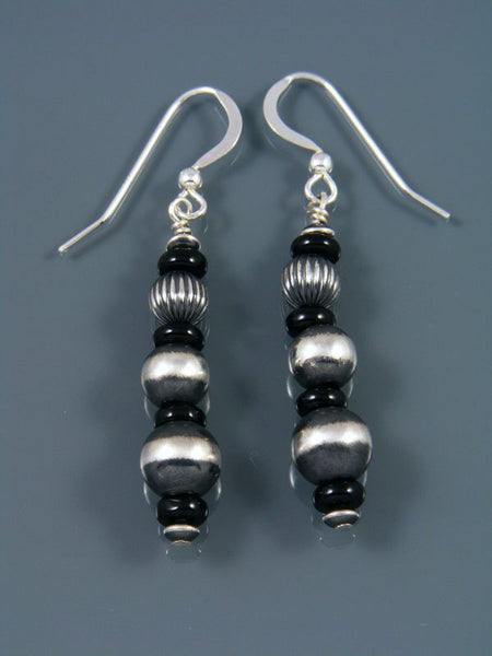 Navajo Sterling Silver Onyx Beaded Dangle Earrings