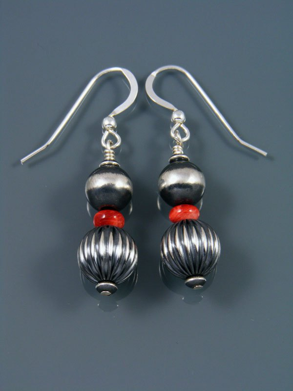 Navajo Sterling Silver Spiny Oyster Beaded Dangle Earrings
