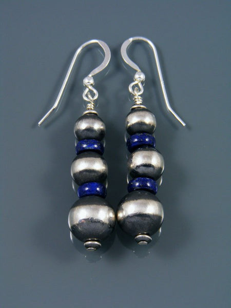 Navajo Sterling Silver Lapis Beaded Dangle Earrings