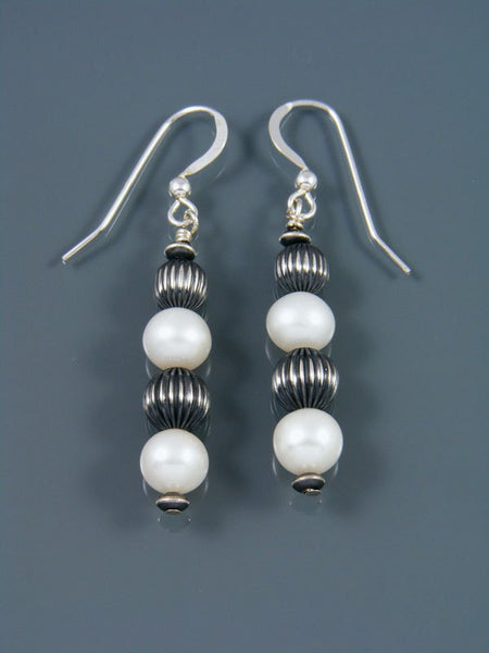 Navajo Sterling Silver Mother of Pearl Beaded Dangle Earrings