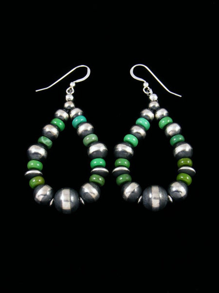 Green Turquoise and Sterling Silver Bead Dangle Earrings