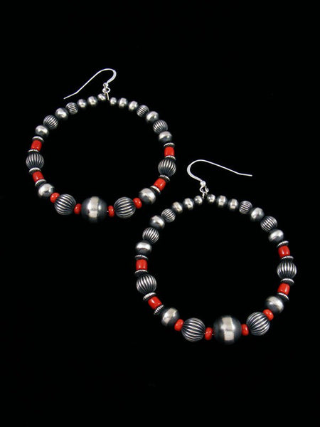 Navajo Sterling Silver Coral Beaded Dangle Earrings