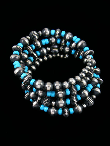 Native American Sterling Silver Turquoise Bead Wrap Bracelet