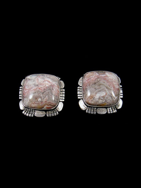 Navajo Crazy Lace Agate Sterling Silver Post Earrings