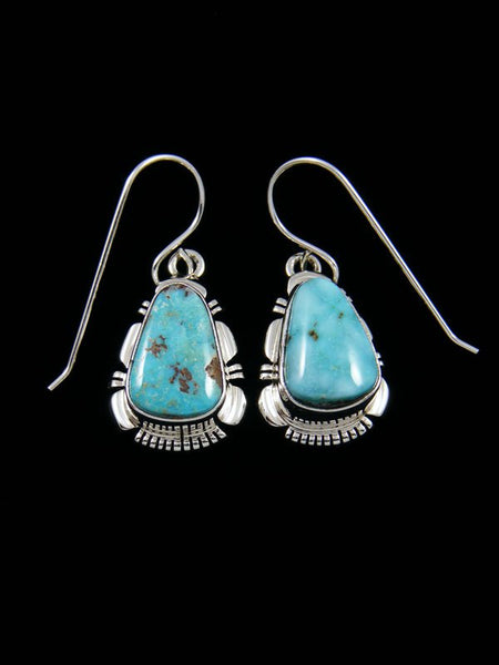 Navajo Dry Creek Turquoise Sterling Silver Dangle Earrings
