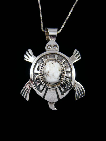 Native American Jewelry White Buffalo Turtle Pendant