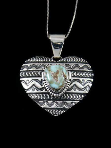 Native American Indian Jewelry Dry Creek Turquoise Heart Pendant