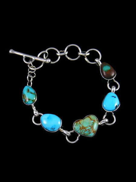 Native American Turquoise Heart Link Bracelet