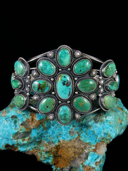 Native American Sterling Silver Nevada Turquoise Cuff Bracelet