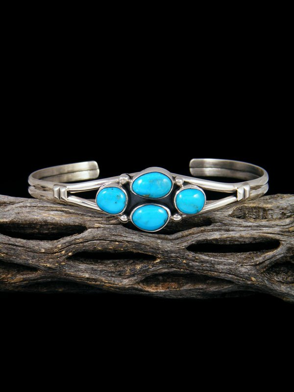 Native American Sterling Silver Blue Bird Turquoise Bracelet