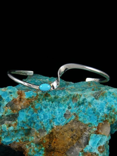 Navajo Sterling Silver and Turquoise Wave Bracelet