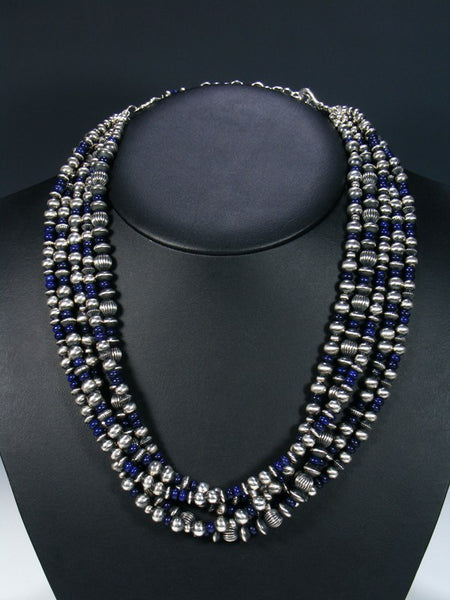 Native American Lapis Sterling Silver Bead Necklace