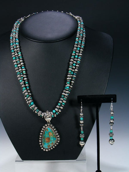 Native American Pilot Mountain Turquoise Necklace Set