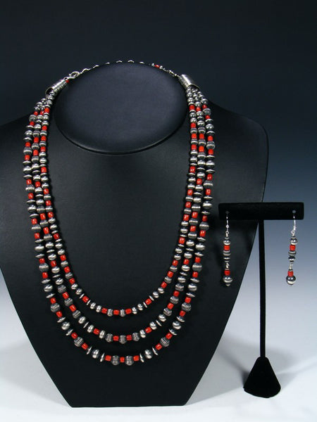 Native American Natural Coral Sterling Silver Bead Necklace Set