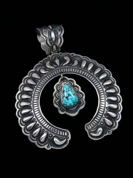 Large Native American Indian Sterling Silver Turquoise Naja Pendant