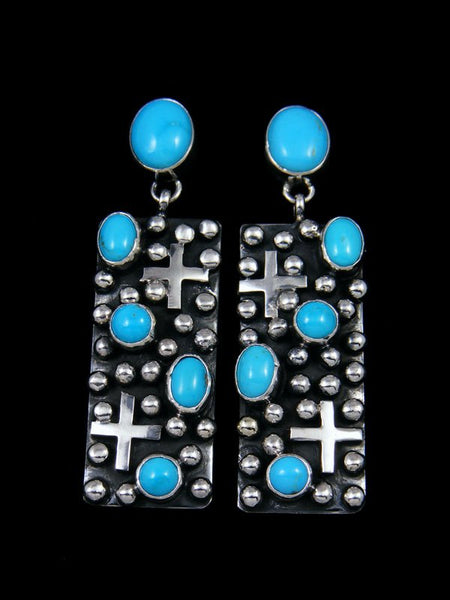 Native American Sterling Silver Turquoise Post Cross Earrings