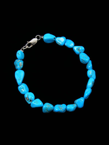 Native American Indian Jewelry Sleeping Beauty Turquoise Bead Bracelet