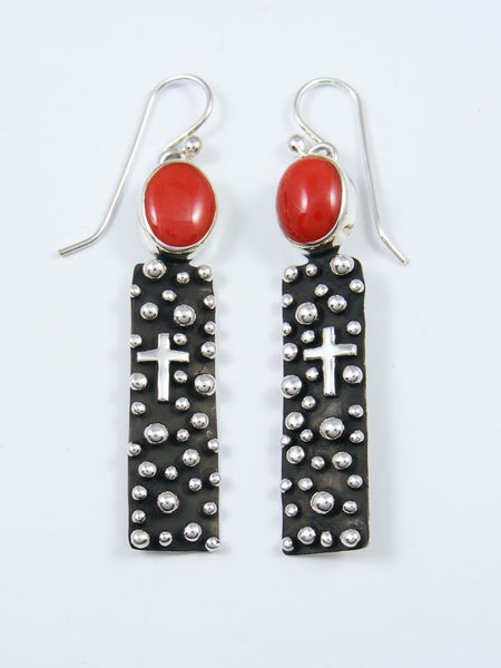 Native American Droplet and Cross Coral Dangle Earrings