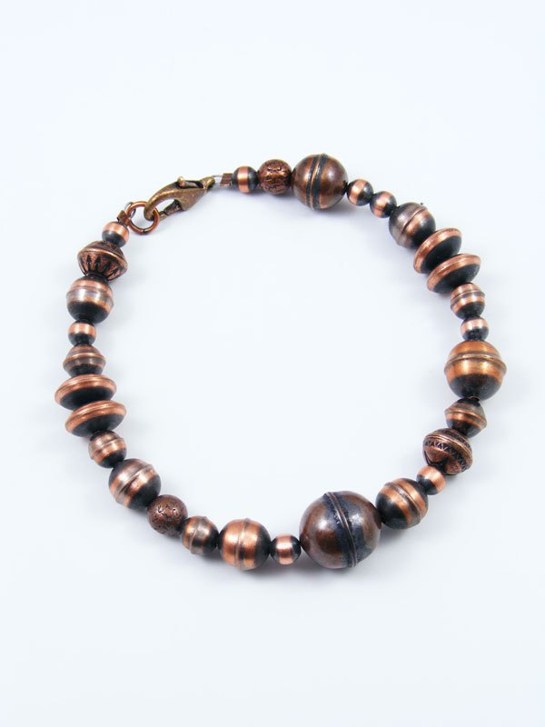 Native American Indian Jewelry Copper Bead Bracelet By Ashley