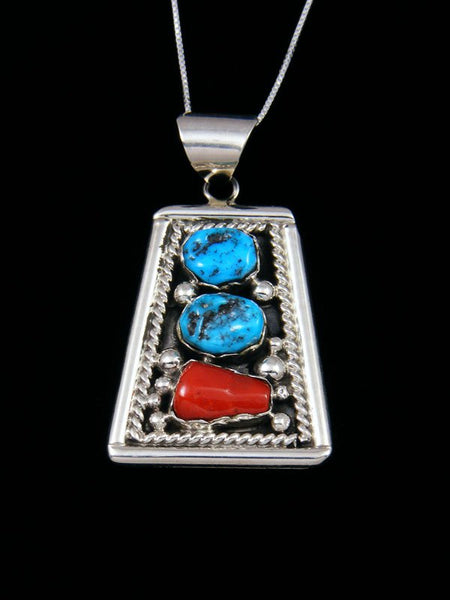 Navajo Turquoise and Coral Sterling Silver Pendant