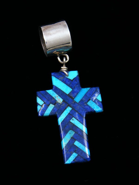 Large Native American Lapis and Turquoise Mosaic Cross Pendant