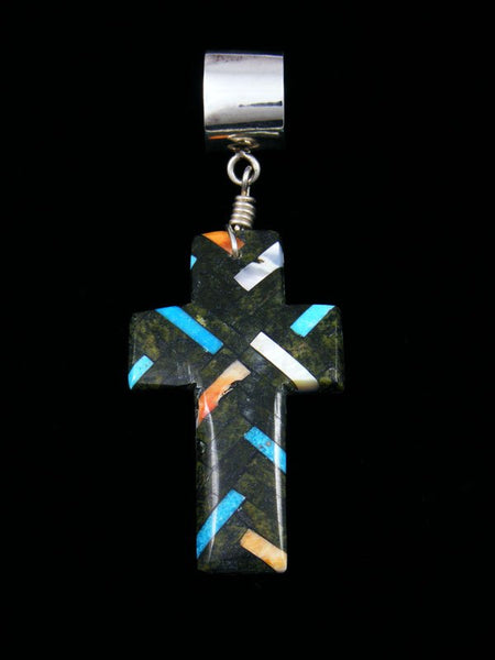 Large Native American Serpentine and Turquoise Mosaic Cross Pendant