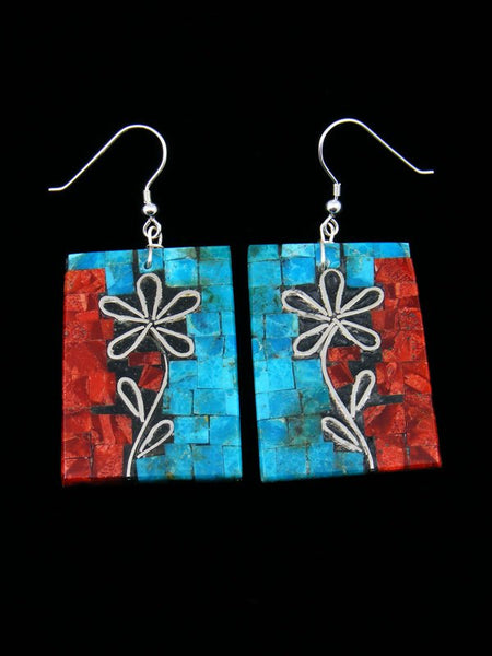 Native American Turquoise and Coral Mosaic Dangle Earrings
