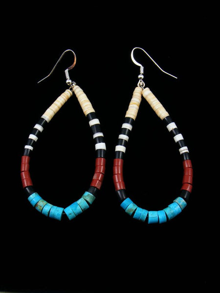 Shell Heishi and Turquoise Santo Domingo Dangle Earrings