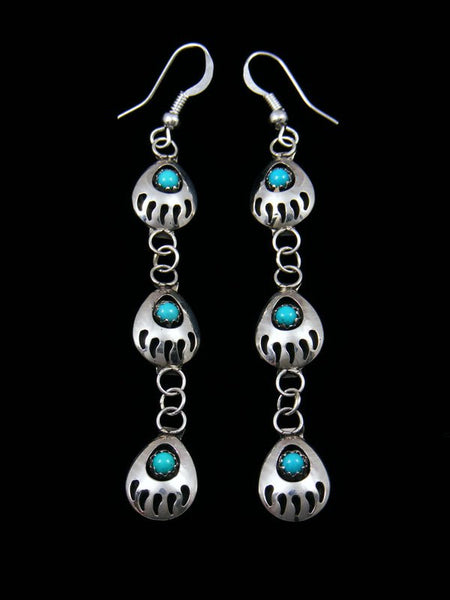 Triple Bear Paw Dangle Earrings with Turquoise