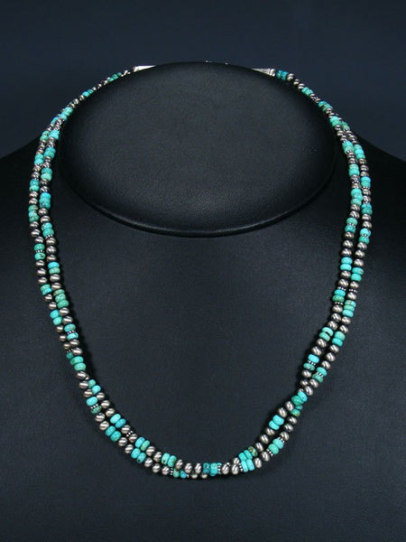 Navajo Double Strand Turquoise Sterling Silver Bead Necklace